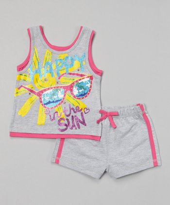 Weeplay Kids Heather Gray 'In the Sun' Tank & Shorts - Infant, Toddler & Girls