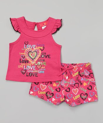 Weeplay Kids Fuchsia Angel-Sleeve Top & Shorts - Infant, Toddler & Girls