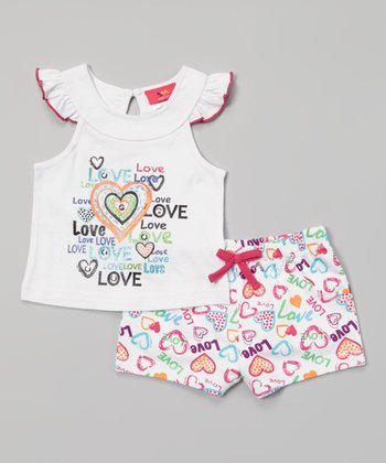 Weeplay Kids White Angel-Sleeve Top & Shorts - Infant, Toddler & Girls