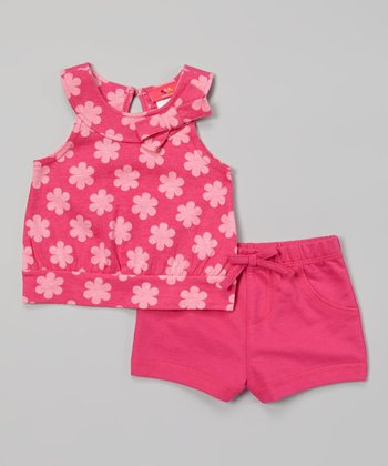 Weeplay Kids Fuchsia Flower Bow Top & Shorts - Infant & Toddler