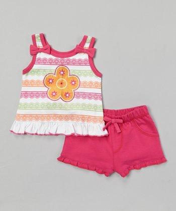 Weeplay Kids Fuchsia Stripe Ruffle Tank & Shorts - Infant & Toddler