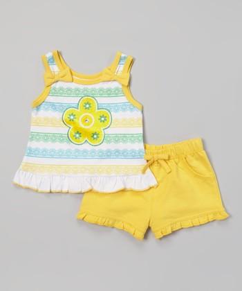 Weeplay Kids Aspen Gold Stripe Ruffle Tank & Shorts - Infant & Toddler