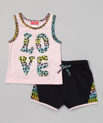 Weeplay Kids Baby Pink Leopard 'Love' Tank & Shorts - Infant, Toddler & Girls