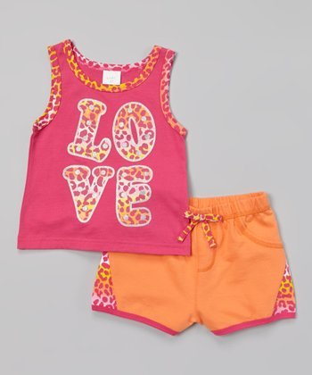 Weeplay Kids Fuchsia Leopard 'Love' Tank & Shorts - Infant, Toddler & Girls