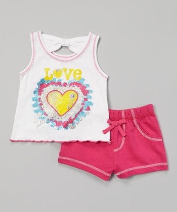 Weeplay Kids White 'Love' Heart Tank & Shorts - Infant & Toddler