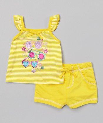 Weeplay Kids Aspen Gold Glitter Shades Top & Shorts - Infant, Toddler & Girls