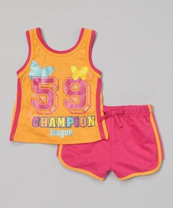 Weeplay Kids Fuchsia 'Champion' Tank & Shorts - Infant, Toddler & Girls