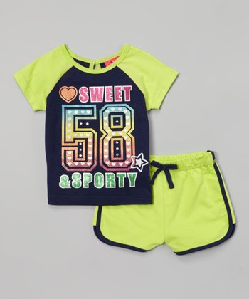 Weeplay Kids Sharp Green 'Sporty' Tee & Shorts - Infant, Toddler & Girls