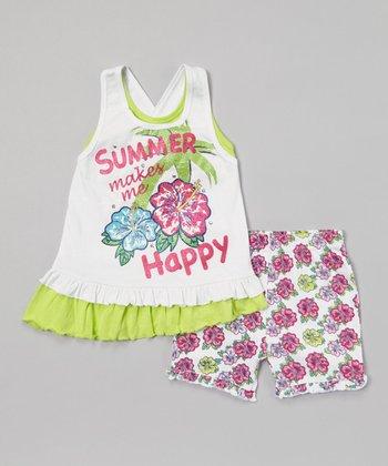 Weeplay Kids Sharp Green 'Summer' Layered Tank & Shorts - Infant & Toddler