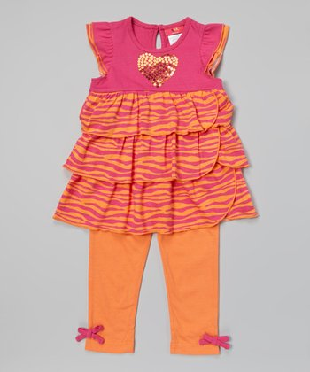 Weeplay Kids Fuchsia Sequin Heart Tunic & Leggings - Infant, Toddler & Girls