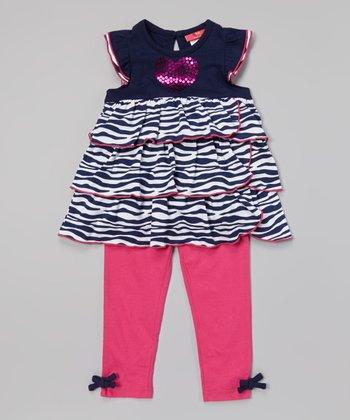 Weeplay Kids Indigo Sequin Heart Tunic & Leggings - Infant, Toddler & Girls