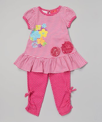 Weeplay Kids Nectarine Flower Tunic & Leggings - Infant, Toddler & Girls