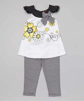 Weeplay Kids White Bow Cap-Sleeve Tunic & Leggings - Infant, Toddler & Girls