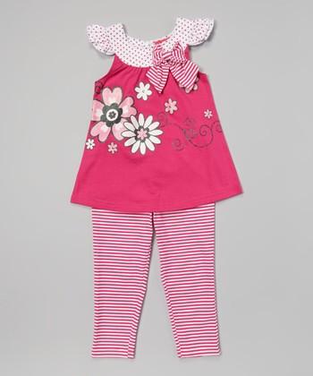 Weeplay Kids Fuchsia Bow Cap-Sleeve Tunic & Leggings - Infant, Toddler & Girls