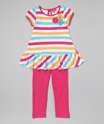 Weeplay Kids Fuchsia Stripe Flower Tunic & Leggings - Infant, Toddler & Girls
