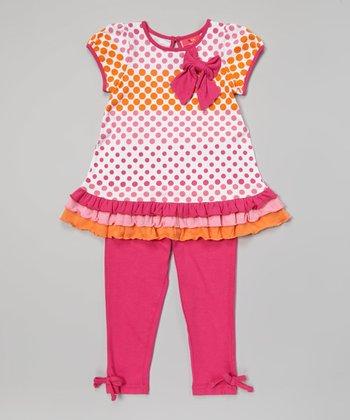 Weeplay Kids Fuchsia Polka Dot Drop-Waist Tunic & Leggings - Infant & Toddler