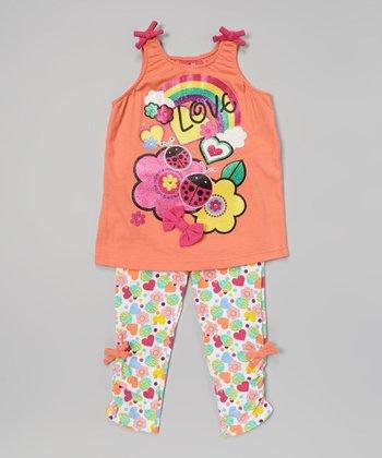 Weeplay Kids Nectarine 'Love' Butterfly Tank & Leggings - Infant & Toddler