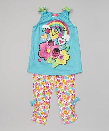 Weeplay Kids Capri 'Love' Butterfly Tank & Leggings - Infant & Toddler