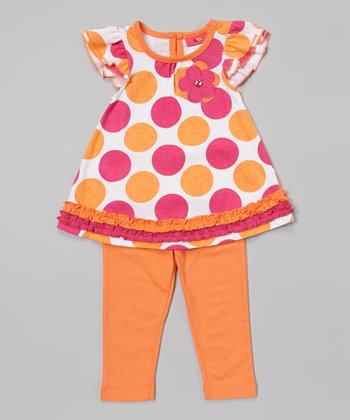 Weeplay Kids Nectarine Rhinestone Flower Tunic & Leggings - Infant & Toddler