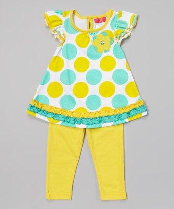 Weeplay Kids Capri Rhinestone Flower Tunic & Leggings - Infant & Toddler