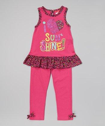 Weeplay Kids Fuchsia Cheetah Tank & Leggings - Infant, Toddler & Girls