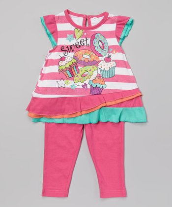 Weeplay Kids Fuchsia Stripe 'Sweet' Tunic & Leggings - Infant & Toddler