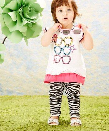 Weeplay Kids White Shades Tunic & Zebra Leggings - Infant, Toddler & Girls
