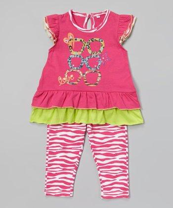 Weeplay Kids Fuchsia Shades Tunic & Zebra Leggings - Infant, Toddler & Girls