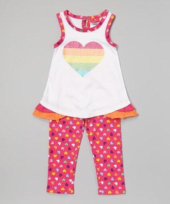 Weeplay Kids White Stripe Heart Tank & Leggings - Infant & Toddler