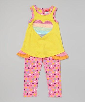 Weeplay Kids Aspen Gold Stripe Heart Tank & Leggings - Infant & Toddler