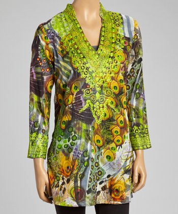 Lime Embroidered Peacock Tunic - Women
