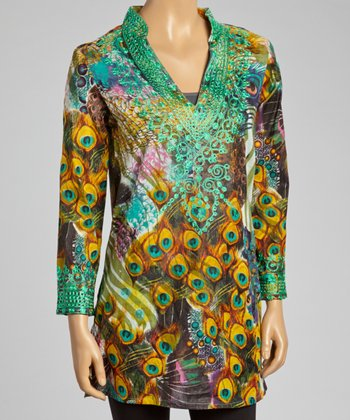Green Embroidered Peacock Tunic - Women