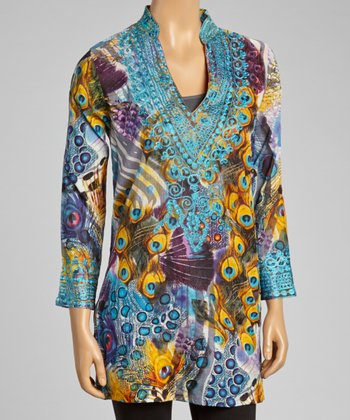 Turquoise Embroidered Peacock Tunic - Women