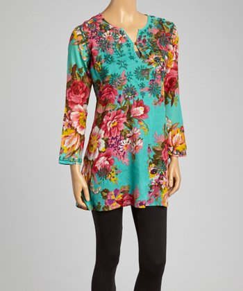 Turquoise & Pink Floral Embroidered Tunic - Women