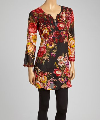 Black & Pink Floral Embroidered Tunic - Women