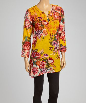 Yellow Floral Embroidered Tunic - Women