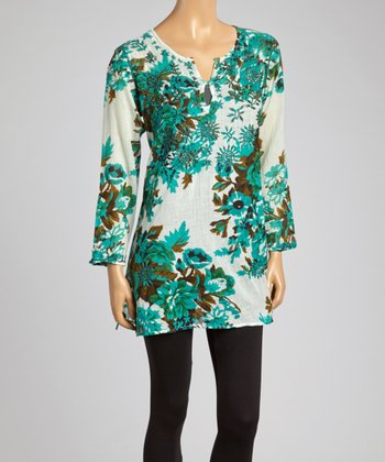 Green & White Floral Embroidered Tunic - Women