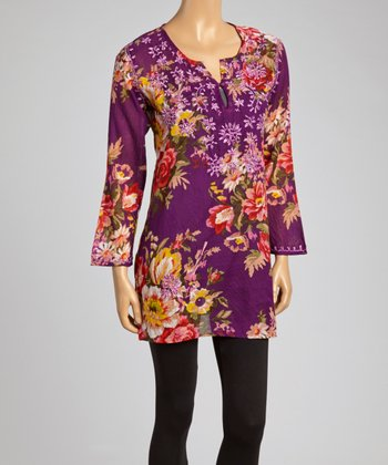 Purple & Pink Floral Embroidered Tunic - Women