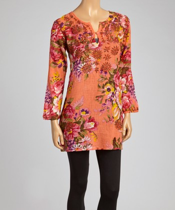 Salmon Floral Embroidered Tunic - Women