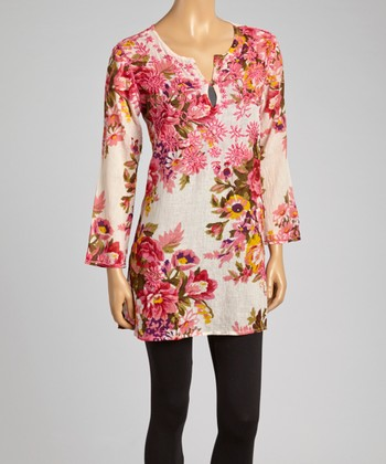 Light Pink Floral Embroidered Tunic - Women