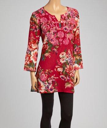 Fuchsia Floral Embroidered Tunic - Women