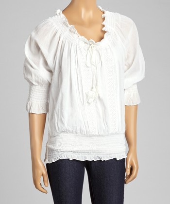 White Embroidered Smocked Top - Women