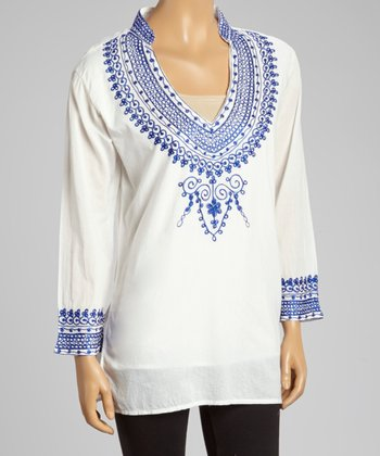 Blue Embroidered V-Neck Tunic - Women