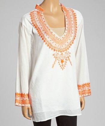 Orange Embroidered V-Neck Tunic - Women