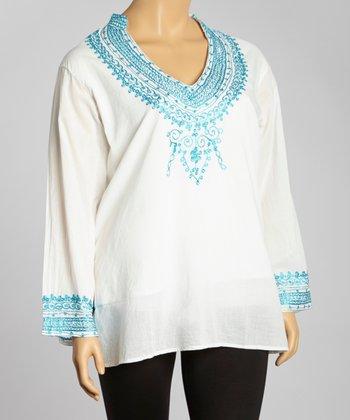 Light Blue Embroidered V-Neck Tunic - Plus