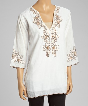 Brown Embroidered Floral Tunic - Women