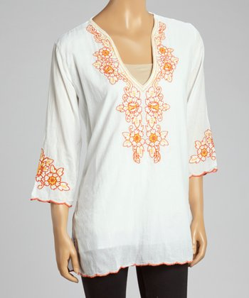 Orange Embroidered Floral Tunic - Women
