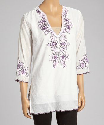 Purple Embroidered Floral Tunic - Women