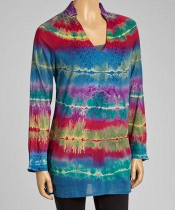 Pink & Blue Tie-Dye Tunic - Women