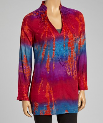 Raspberry & Purple Tie-Dye Tunic - Women